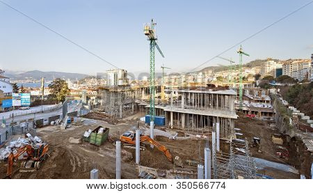 Vigo, Spain - Jan 25, 2020: Vigo-urzaiz Ave Railway Tgv Station Construction Works On January 25, 20