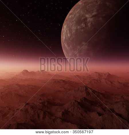3d Rendered Space Art: Alien Planet - A Fantasy Landscape With Red Skies And Stars