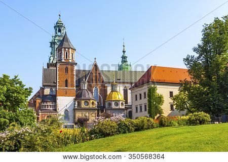Summer View Of Wawel Royal Castle Complex In Krakow, Poland. Wawel Castle Is The Most Historically A