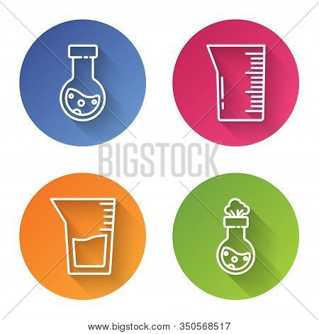 Set Line Test Tube And Flask Chemical, Laboratory Glassware Or Beaker, Laboratory Glassware Or Beake