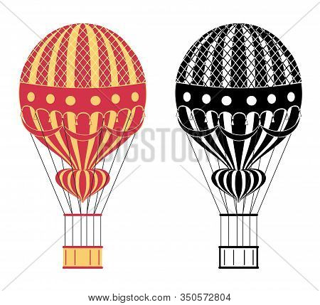 Cartoon Color And Black And White Air Balloons. Hot Air Balloons. Aerostat Isolated On White Backgro
