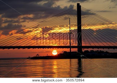 Silhouette Of The Indian River Bridge During Sunrise Near Indian River Inlet, Delaware, U.s.a