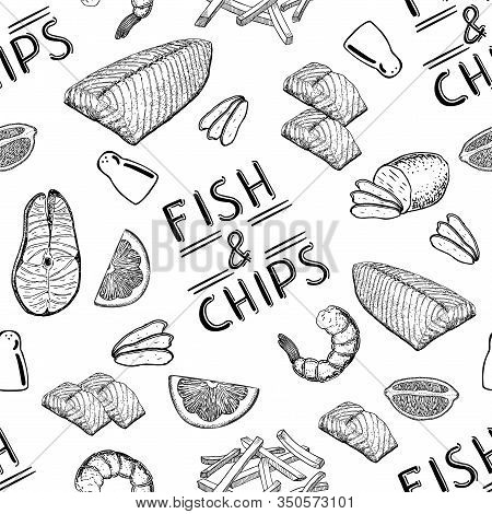 Famous British Fast-food - Fish And Chips. Fish And Chips Seamless Pattern. English Fish And Chips F