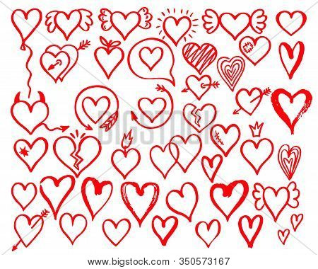 Heart Doodles. Big Set Red Hearts Sketch. Heart Icons Set, Hand Drawn Icons And Illustrations For Va
