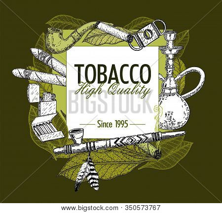 Hand Drawn Posters With Tobacco And Smoking Collection. Cigars In Sketch Style. Vector Illustration