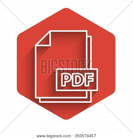 White Line Pdf File Document. Download Pdf Button Icon Isolated With Long Shadow. Pdf File Symbol. R