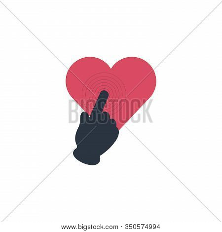 Human Heart Icon With Hand Touch, Cardiac Care, Heart Protection, Healthy Heart. Stock Vector Illust