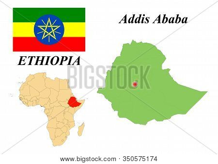 Federal Democratic Republic Of Ethiopia. The Capital Is Addis Ababa. Flag Of Ethiopia. Map Of The Co