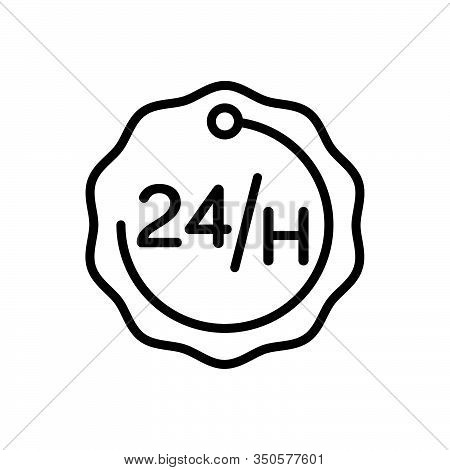 Black Line Icon For 24 Hours Accessibility Emergency Exigency Service Efficacy