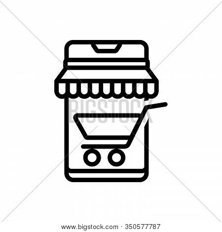 Black Line Icon For Mobile-shopping Mobile Shopping Shop Purchase Screen Cart Trolly Smart-buying Ma