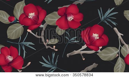 Botanical Seamless Pattern, Red Camellia Flowers And Leaves On Black Background