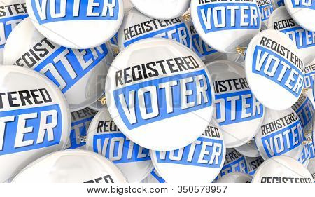 Registered Voter Buttons Pins Election Democracy Choose Participate 3d Illustration