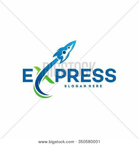 Fast Forward Express Logo Designs Vector, Modern Express Logo Template, Express Logo With Rocket Sym