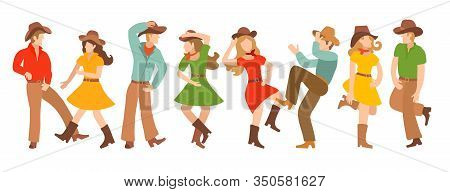 Collection Of Vector Illustrations With Pairs Of Country Dancers. Blondites In Colorful Traditional