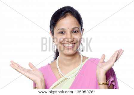 Excited Traditional Indian Woman