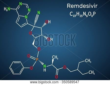 Remdesivir, Gs-5734, C27h35n6o8p Molecule. It Is Antiviral Drug For Treatment Ebola Virus, Under Stu