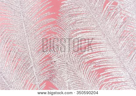 Glamour Pink Texture With Silver Shimmer Palm Branches As Decorative Background.