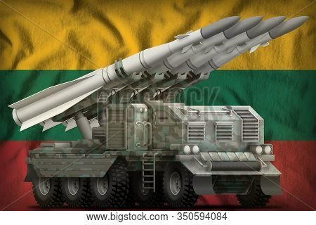 Tactical Short Range Ballistic Missile With Arctic Camouflage On The Lithuania Flag Background. 3d I