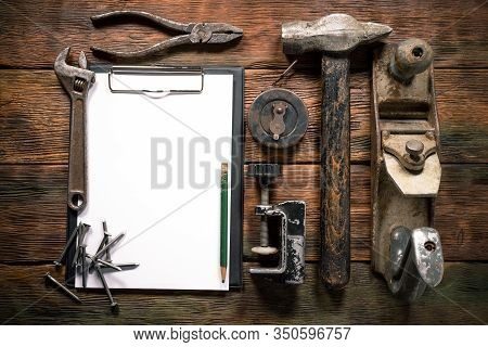 Construction Tips Mockup. Fix List Template. Construction Tools And Blank Paper Page With Copy Space