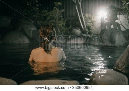 Lady Wear Notthing In Onsen Hot Spring Water In Yufuin, Japanese Onsen In Oita, Japan