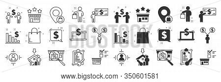 Buying Goods Icons Set. Buyer, Thin Line Design. Contains Such Icons As Product Presentation, Seller
