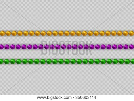 Mardi Gras Beads Set In Traditional Colors. Decorative Glossy Realistic Elements For Design Mardi Gr