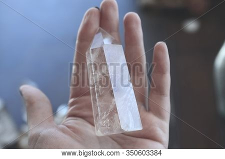 Clear Quartz Crystal Tower, Carved Crystal Tower. Woman\'s Hand Holding Clear Quartz Tower. Witchy D