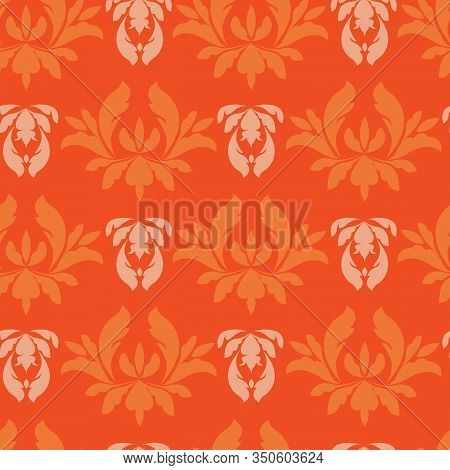 Vector Lush Lava And Beige Damask Or Paisley Seamless Pattern Background