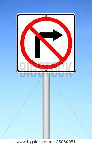 Road Sign Don't Turn Right