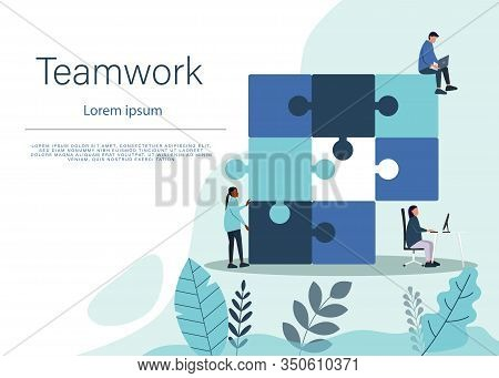Business concept teamwork . Team business metaphor. Business teamwork people connecting puzzle elements. Vector teamwork business illustration flat design style. Symbol of business teamwork, business cooperation, business partnership.