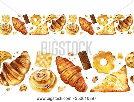 Seamless Border With Croissant, Biscuit, Cookie, Bun And Roll. Watercolor Hand Drawn Illustration Of