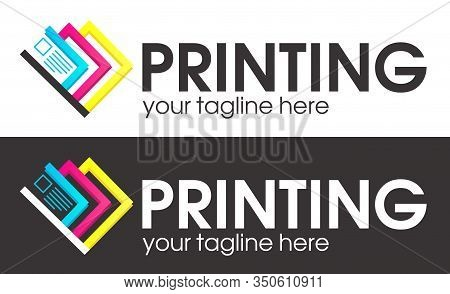 Digital Print Logo Design Template.  Typography Modern Sign. Polygraphy And Print Factory. Express P