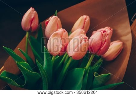 Bunch Of Pink And Red White Tulips Bouquet Of Mixed Flowers .  Fresh Spring Summer Background. Greet