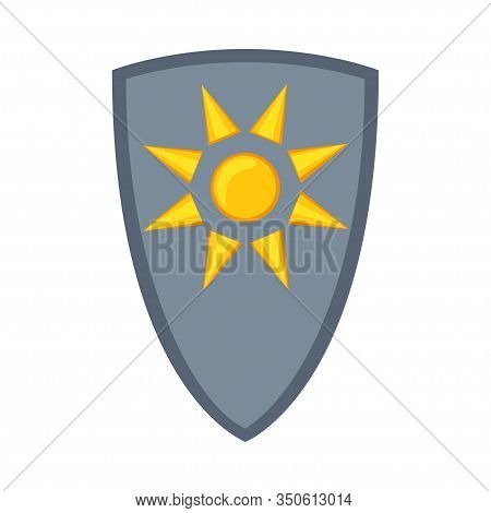 Cartoon Metal Fairytale Shield. Medieval Festival Props. Fairy Tale Theme Vector Illustration For Ic