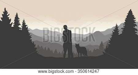 Couple With Dog Are Looking Into The Distance On A Mountain And Forest Landscape Vector Illustration