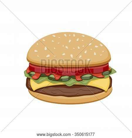 Vector Drawing Of Hamburger With Cheese, Tomatoes, Chop, Lettuce, Cucumber In Illustration For Desig
