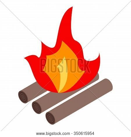 Small Campfire Icon. Isometric Of Small Campfire Vector Icon For Web Design Isolated On White Backgr