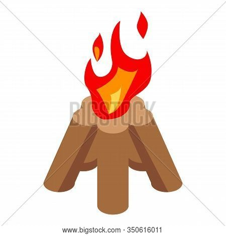 Wood Campfire Icon. Isometric Of Wood Campfire Vector Icon For Web Design Isolated On White Backgrou
