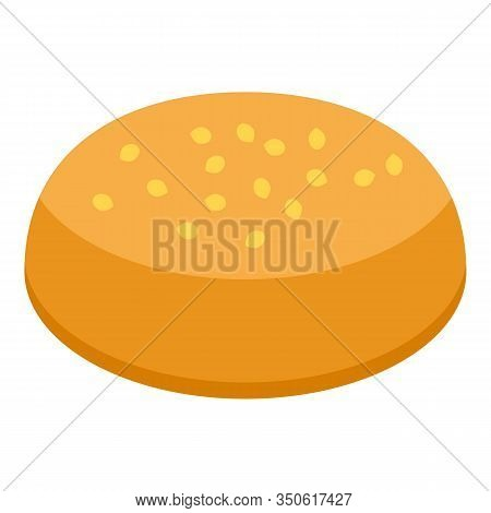 American Burger Bun Icon. Isometric Of American Burger Bun Vector Icon For Web Design Isolated On Wh
