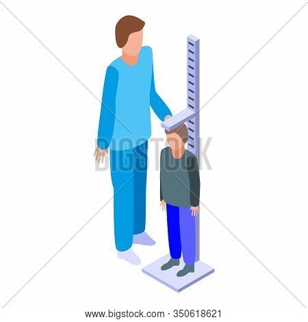 Pediatrician Height Measurement Icon. Isometric Of Pediatrician Height Measurement Vector Icon For W