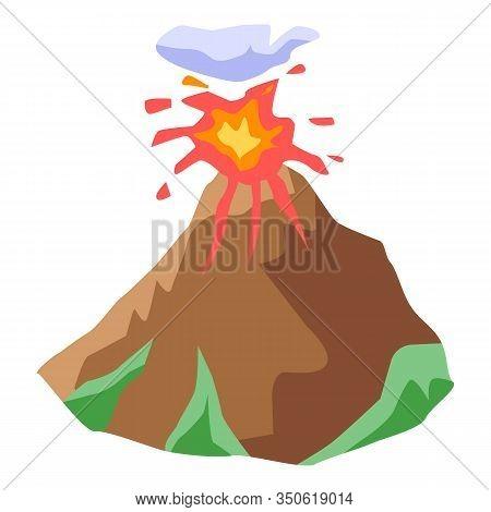 Eruption Volcano Icon. Isometric Of Eruption Volcano Vector Icon For Web Design Isolated On White Ba