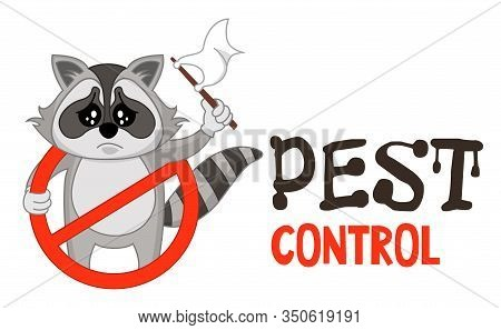 Funny Vector Illustration Of Pest Control Logo For Fumigation Business. Comic Locked Raccoon Surrend