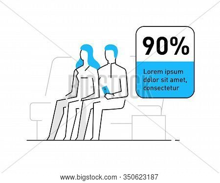 Married Couple At Home. Family, Relationships, Convenience, Work, Home. Infographics Line Advertisin