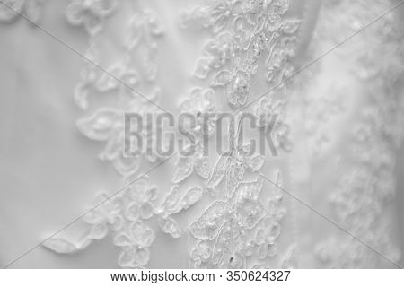 Wedding Dress Lace Detail Close Up Black And White View. Female Fashion Costume Details And Luxury R