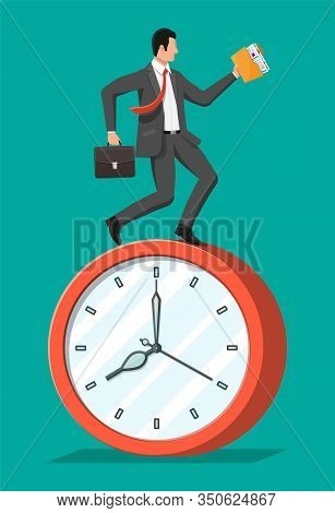Businessman Is Fast Running On Big Clock With Waving Necktie And Briefcase. Business Man Rushing Hur