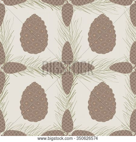 Vector Brown Pinecones And Green Pine Needles On Beige Background Seamless Repeat Pattern. Backgroun