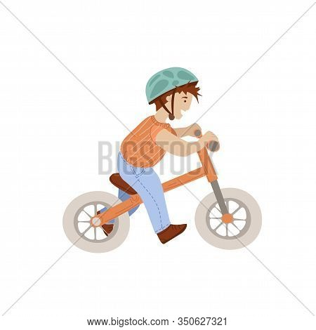 Little Boy On Sport Baby Balance Bike, First Baby Bike Bicycle Vector Cartoon Illustration, Safe Rid