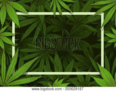 Green Hemp Frame. Marijuana Leafs Border, Medical Drugs And Cannabis Decoration Vector Illustration