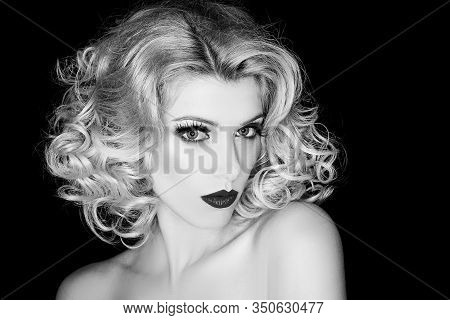 Beautiful Blonde Woman. Seductive Candid Pose. Young Woman With Glitter Makeup. Beautiful Smiling Wo