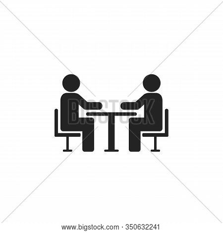Two People At The Table Icon. Icon Conference. Vector